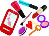 Contents of a female handbag — Stock Vector