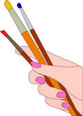 Hand of the artist — Stock Vector
