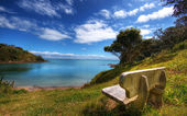 Bench with a view of paradise — Stock Photo
