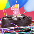 Chocolate birthday cake — Stock Photo