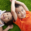 Cute happy asian siblings — Foto Stock