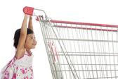 Cute Asian Girl Pushing Trolley — Stock Photo