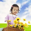 Stock Photo: Sweet little girl with sunflowers