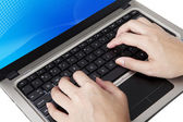 Typing close up — Stockfoto