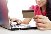 Woman shopping online — Stock Photo