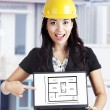 Stock Photo: Young architect presents new site concept