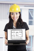 Architect with new house design — Stock Photo