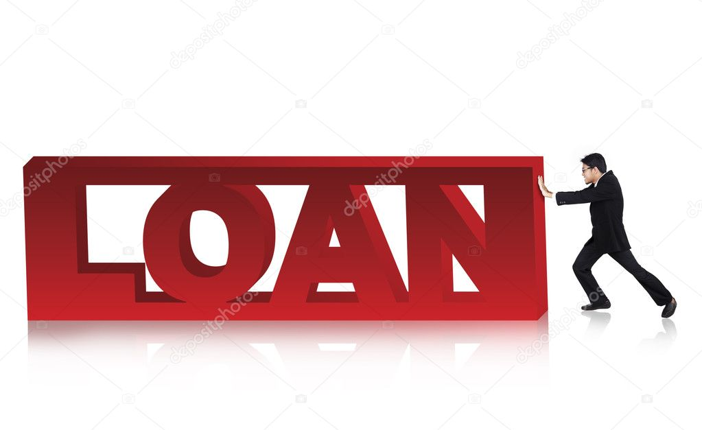 Anxious asian businessman pushing loan sign. Shot in studio isolated on white — Stock Photo #11164922