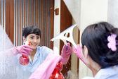 Cheerful hotel maid — Stock Photo