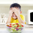 Displeasure to eat salad — Stock Photo
