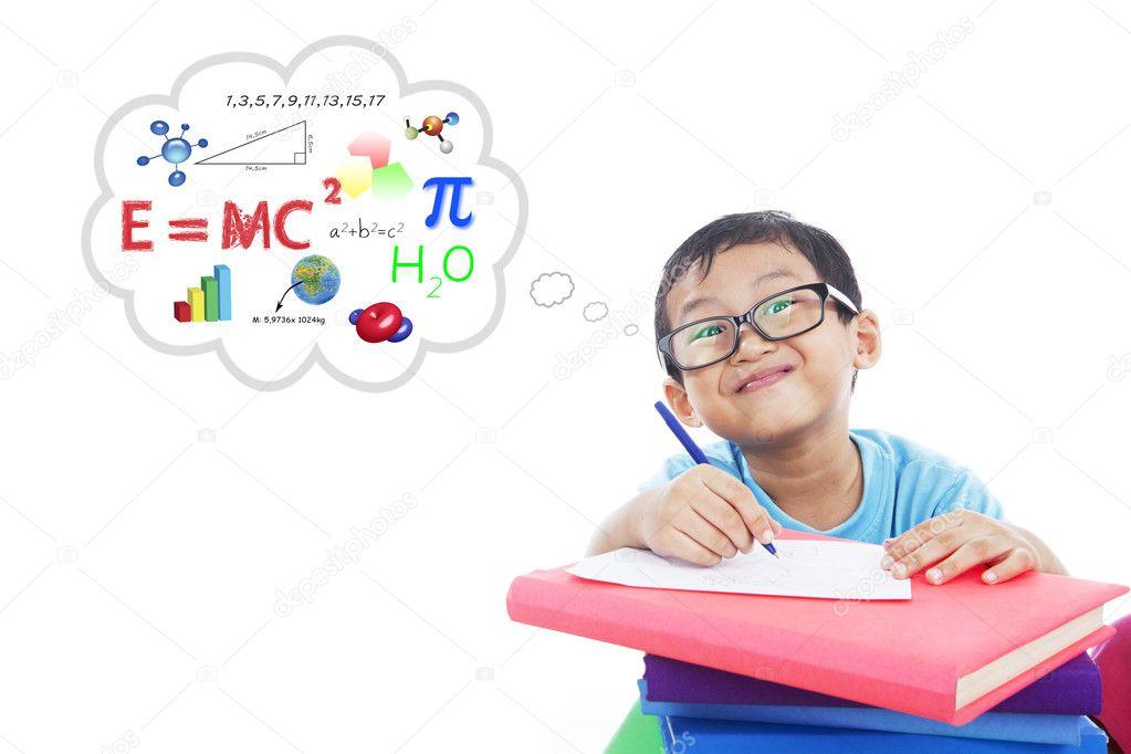 Solving of physics formula 1 stock image