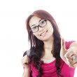 Female student showing thumbs-up — Stock Photo #11788570