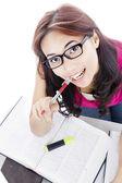 Closeup of female college student — Stock Photo