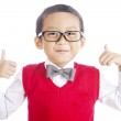 Nerd student and thumbs-up — Stock Photo