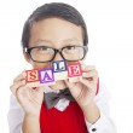 školák zobrazeno prodej slovo — Stock fotografie