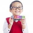 Schoolboy with LEARN word — Stock Photo #11994092