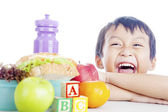 Happy child with school lunch — Stock Photo
