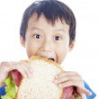 Eating big sandwich — Stock Photo