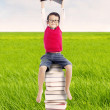 Pupil with books outdoor — Stock Photo #12072196