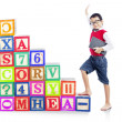 Stepping upward alphabet block 1 — Stock Photo