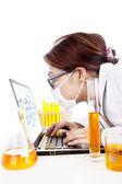 Forskare klockor reaktion av molekyl — Stockfoto