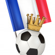 Soccer ball with a golden crown. Flag of France — Stock Photo