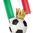 Soccer ball with a golden crown. Flag of Italy — Stock Photo