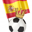 Soccer ball with a golden crown. Flag of Spain — Stock Photo