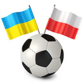 3d rendering of a soccer ball with flags Poland Ukraine — Stock Photo