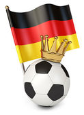 Soccer ball with a golden crown. Flag of Germany — Stockfoto