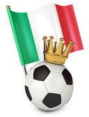 Soccer ball with a golden crown. Flag of Italy — ストック写真