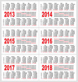 Calendar grid pocket vector, set — Stock Vector