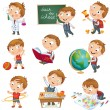 Cute schoolchild at lesson of geography — Stock Vector #12382808