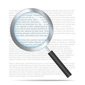 Realistic search icon with text on background — Stock Vector