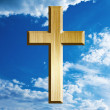 Gold cross on heaven — Stock Photo