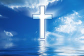 Cross Hangs in Sky over Water — Stock Photo