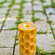 A burning candle in the park — Stock Photo
