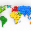 World map of rainbow colors, cube design — Stock Photo #11400033
