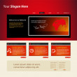 Web site design red template — Stock Vector