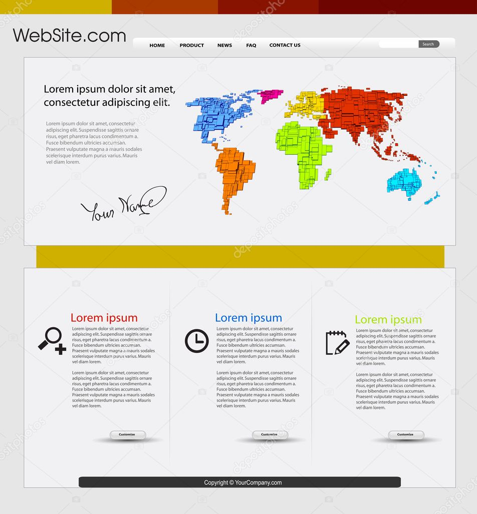 Map Design Website Template: Web Design Template With World Map