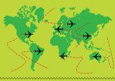 Vector airplane earth — Stock Vector