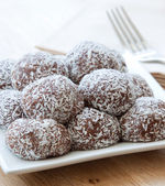 Coconut crusted chocolate balls — Stock Photo