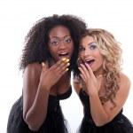 Two women in black dresses — Stock Photo