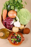 All you need for typical italian minestrone soup — Stock Photo