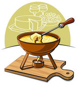 Cheese fondue — Stock Vector