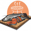 Stock Vector: Fresh salmon on a cutting board