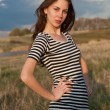 Stock Photo: Portrait of girl in striped T-shirt