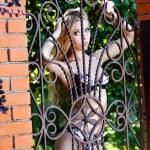 The beautiful girl behind a lattice — Stock Photo
