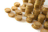 Piles of golden coins — Stock Photo