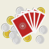 Playing cards back side gold and silver coins — Stock Vector